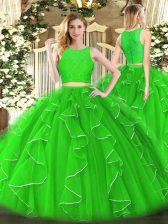 Green Ball Gowns Lace and Ruffles Quinceanera Dresses Zipper Organza Sleeveless Floor Length