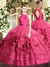 New Arrival Floor Length Hot Pink Quinceanera Gowns Fabric With Rolling Flowers Sleeveless Lace
