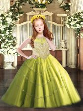 Floor Length Zipper Little Girls Pageant Dress Olive Green for Party and Quinceanera with Beading and Appliques