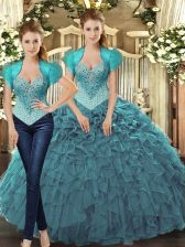 Sleeveless Floor Length Beading and Ruffles Lace Up 15 Quinceanera Dress with Teal