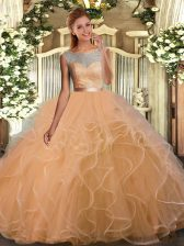 Sumptuous Scoop Sleeveless Organza and Tulle 15th Birthday Dress Lace and Ruffles and Sashes ribbons Backless