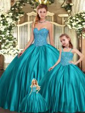 Teal Ball Gowns Sweetheart Sleeveless Organza Floor Length Lace Up Beading 15 Quinceanera Dress
