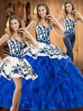 Floor Length Blue Vestidos de Quinceanera Satin and Organza Sleeveless Embroidery and Ruffles