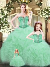 Most Popular Aqua Blue Ball Gowns Beading and Ruffles 15th Birthday Dress Lace Up Tulle Sleeveless Floor Length