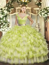 Yellow Green Sweet 16 Dress Military Ball and Sweet 16 and Quinceanera with Ruffled Layers V-neck Sleeveless Zipper