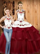 Embroidery and Ruffled Layers Sweet 16 Dresses Wine Red Lace Up Sleeveless With Train Sweep Train