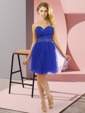 Blue Sweetheart Zipper Beading Dress for Prom Sleeveless