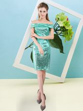 Flirting Turquoise Short Sleeves Mini Length Sequins Zipper Homecoming Dress