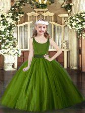 High Class Olive Green Ball Gowns Beading Girls Pageant Dresses Zipper Tulle Sleeveless Floor Length
