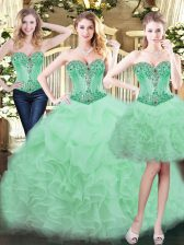Apple Green Three Pieces Organza Sweetheart Sleeveless Beading and Ruffles Floor Length Lace Up Sweet 16 Quinceanera Dress