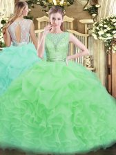 Elegant Organza Backless Quinceanera Gown Sleeveless Floor Length Lace and Ruffles