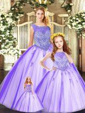 Elegant Floor Length Eggplant Purple 15 Quinceanera Dress Tulle Sleeveless Beading