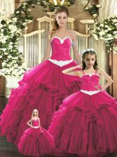 Captivating Red Sweetheart Lace Up Ruffles Quinceanera Dresses Sleeveless