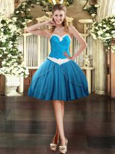 Baby Blue Sweetheart Neckline Appliques Prom Evening Gown Sleeveless Lace Up