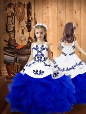 Royal Blue Kids Pageant Dress Sweet 16 and Quinceanera with Embroidery and Ruffles Straps Sleeveless Lace Up