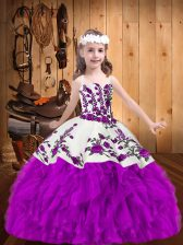 Custom Made Purple Lace Up Straps Beading and Embroidery Little Girl Pageant Dress Organza Sleeveless