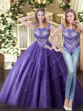 Spectacular Sleeveless Lace Up Floor Length Beading Quinceanera Gowns