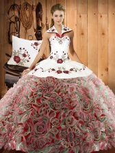Popular Sleeveless Fabric With Rolling Flowers Sweep Train Lace Up Quinceanera Gowns in Multi-color with Embroidery