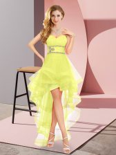 Comfortable High Low A-line Sleeveless Yellow Quinceanera Dama Dress Lace Up