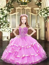 Elegant Straps Sleeveless Girls Pageant Dresses Floor Length Beading and Ruffled Layers Lilac Organza