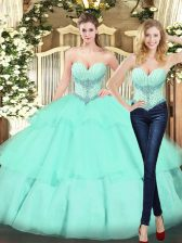 Apple Green Sweetheart Lace Up Beading and Ruffled Layers Quince Ball Gowns Sleeveless
