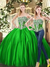 Custom Design Green Two Pieces Sweetheart Sleeveless Organza Floor Length Lace Up Beading and Ruffles Quinceanera Gowns