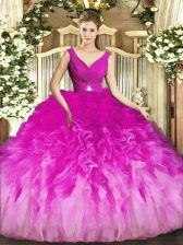 Colorful Sleeveless Floor Length Beading and Ruffles Backless Quinceanera Dresses with Fuchsia