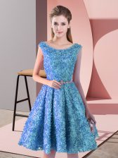 Lace Scoop Sleeveless Lace Up Belt Prom Dresses in Baby Blue