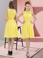 Customized Yellow Damas Dress Prom and Party and Wedding Party with Sequins Scoop Sleeveless Zipper