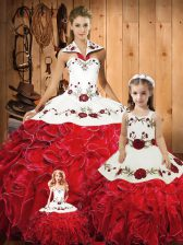 Clearance Red Sleeveless Embroidery and Ruffles Floor Length Ball Gown Prom Dress