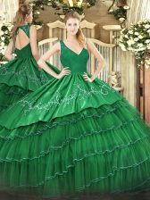 Sleeveless Beading and Lace and Embroidery and Ruffled Layers Backless Quinceanera Dresses