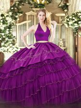 Low Price Halter Top Sleeveless Quinceanera Gowns Floor Length Embroidery and Ruffled Layers Fuchsia Organza and Taffeta