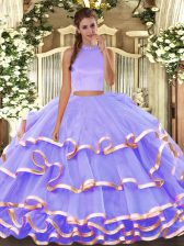 Eye-catching Two Pieces Ball Gown Prom Dress Lavender Halter Top Organza Sleeveless Floor Length Backless