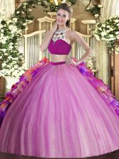 Lilac Two Pieces Tulle High-neck Sleeveless Beading and Ruffles Floor Length Backless Sweet 16 Dresses