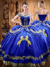 Floor Length Royal Blue Sweet 16 Dress Satin and Organza Sleeveless Beading and Embroidery
