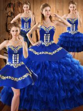 Sweetheart Sleeveless Tulle Quinceanera Gown Embroidery and Ruffled Layers Lace Up