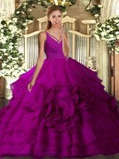 Fuchsia Ball Gowns Organza V-neck Sleeveless Beading and Ruffled Layers Floor Length Backless Ball Gown Prom Dress