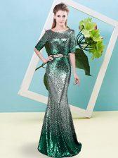 Multi-color Zipper Scoop Sequins and Belt Evening Dress Sequined Half Sleeves