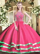 Hot Pink Sleeveless Floor Length Beading Zipper Sweet 16 Dress