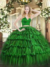Green Organza Zipper Quinceanera Gowns Sleeveless Floor Length Ruffled Layers