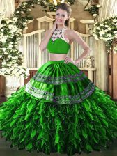 Cute Sleeveless Floor Length Beading and Ruffles Backless Quinceanera Gown with Green