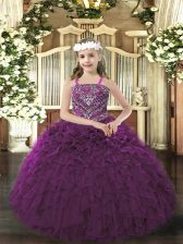 Eye-catching Ball Gowns Little Girl Pageant Gowns Dark Purple Straps Organza Sleeveless Floor Length Lace Up
