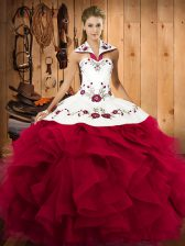 Sleeveless Floor Length Embroidery and Ruffles Lace Up Quinceanera Gowns with Red