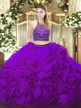 Stunning Eggplant Purple Quinceanera Dress Military Ball and Sweet 16 and Quinceanera with Beading and Ruffles Halter Top Sleeveless Lace Up