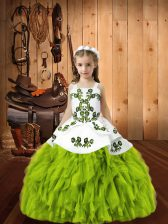 Organza Straps Sleeveless Lace Up Beading and Embroidery Little Girls Pageant Gowns in Yellow Green