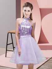 Affordable Mini Length Lavender Quinceanera Dama Dress Chiffon Sleeveless Sequins