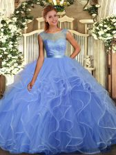 Lavender Ball Gowns Ruffles Quinceanera Dresses Backless Organza Sleeveless Floor Length