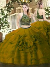 Shining Floor Length Olive Green Quinceanera Gowns Halter Top Sleeveless Zipper