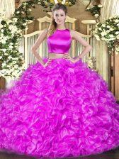 Sweet Hot Pink High-neck Neckline Ruffles Quinceanera Gown Sleeveless Criss Cross