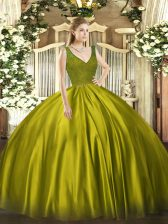 Pretty Olive Green Ball Gowns V-neck Sleeveless Satin Floor Length Backless Beading and Lace 15th Birthday Dress